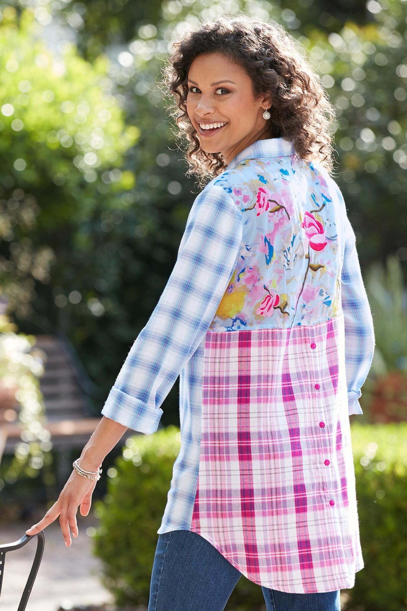 09342b5836 Trio Mixed Pattern High-Low Hem Shirt. In style plaid shirt for fall.