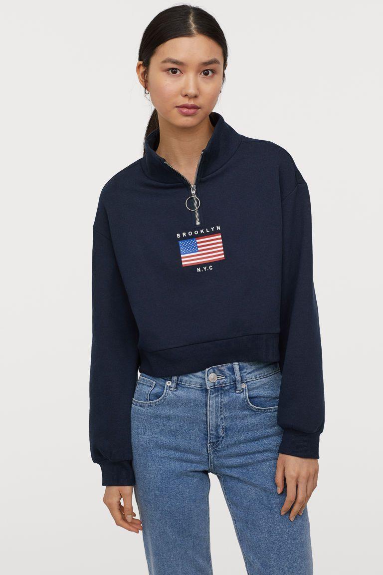 Stand Up Collar Sweatshirt Red Brkln Ladies H M Us Collared Sweatshirt Trendy Hoodies Sweatshirts [ 1152 x 768 Pixel ]