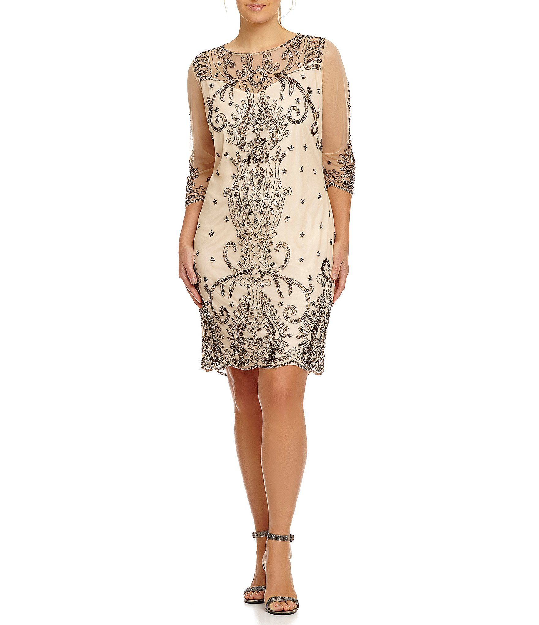 0e5a0edbd98 Shop for Pisarro Nights Plus Illusion Sleeve Beaded Sheath Dress at  Dillards.com. Visit Dillards.com to find clothing