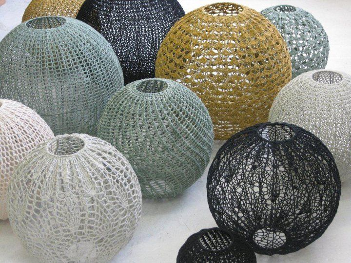 Moon basket crocheted pendant lights from South Africa ...