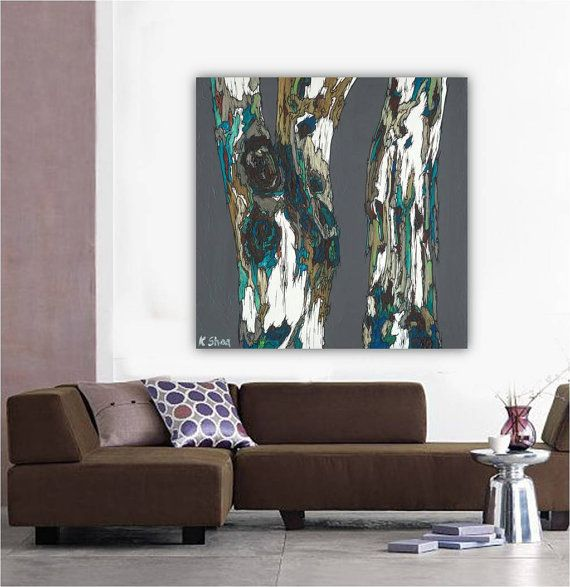 very large wall art; extra large painting print; tree art in blue