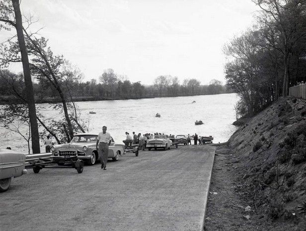 Boaters enjoy the Cumberland River near Shelby Park as they using the park�s boat ramp.