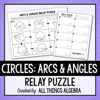 Arc & Angle Measures in Circles Relay Puzzle