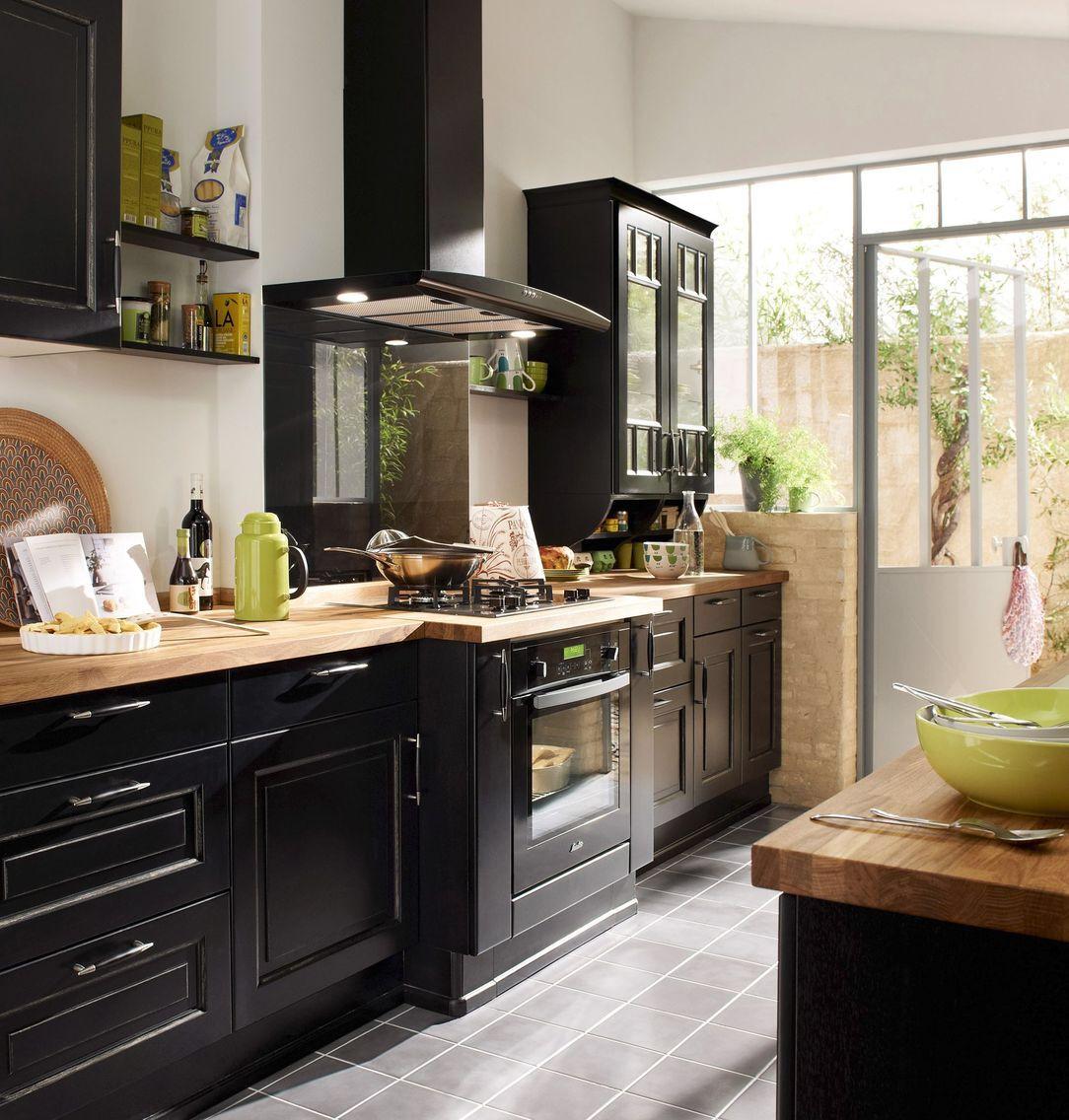 cuisine bistrot lapeyre darty aviva noire rouge pinterest esprit cuisines et cuisiner. Black Bedroom Furniture Sets. Home Design Ideas