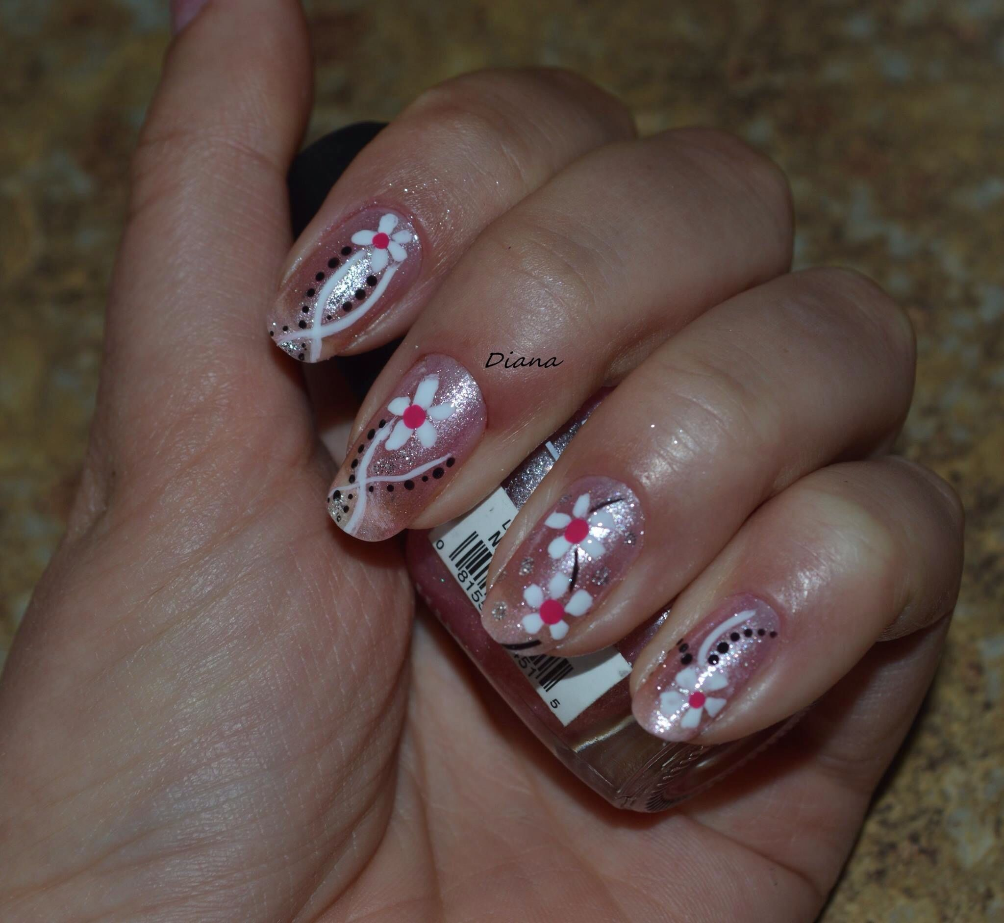 Nail design ! Flowers. Manicure | My Nail Art work on my Own nails ...