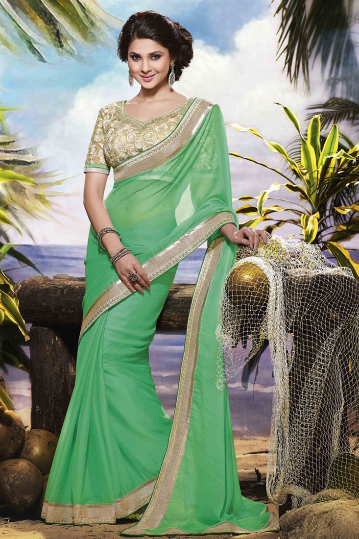 Jennifer Winget Green Color Embroidered Saree | Bridesmaid ...