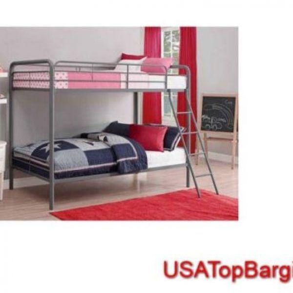 Silver Bunk Bed Twin Size Metal Ladder Frame Dorm Kids Furniture