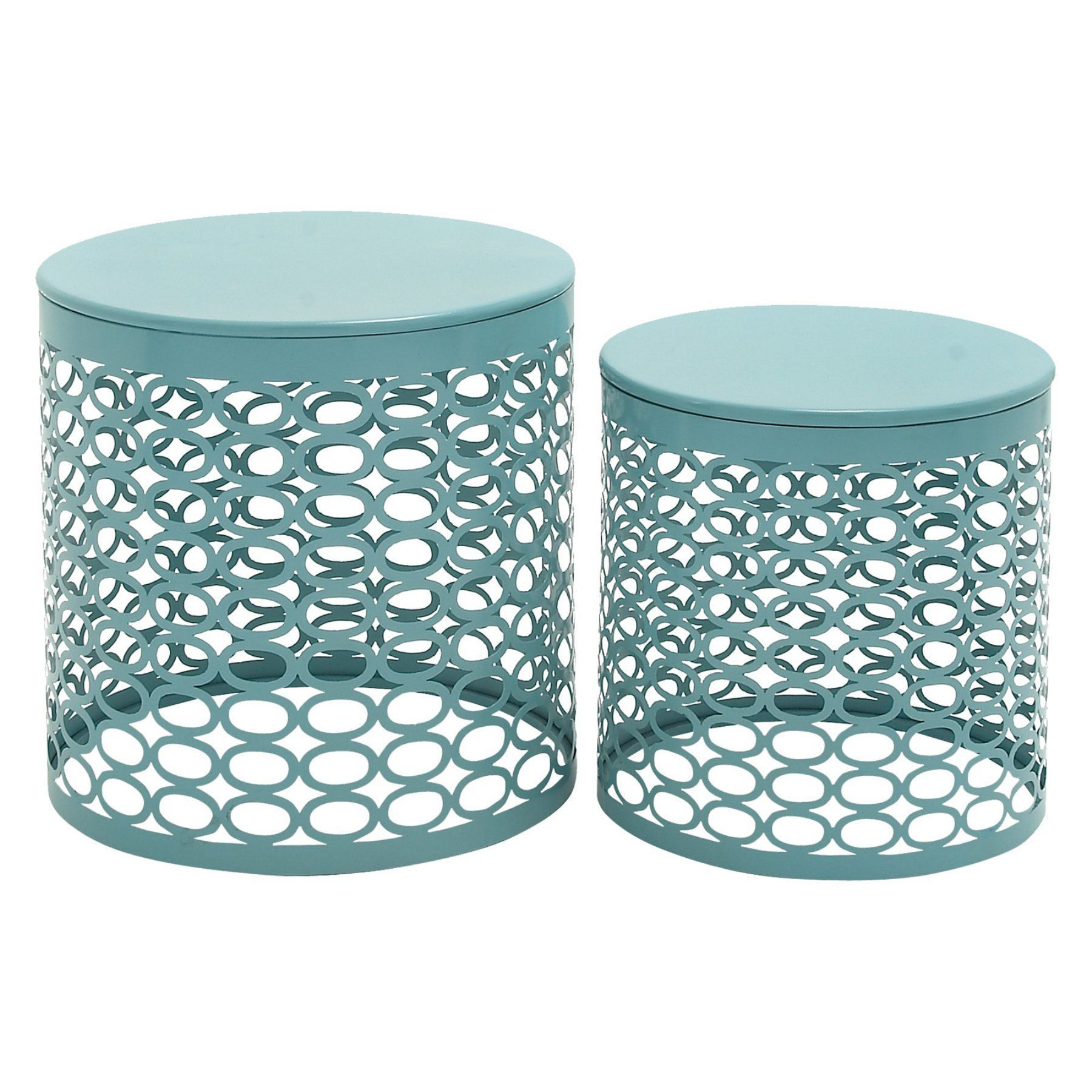 Decmode 17 In Outdoor Accent Tables Set Of 2 Outdoor Accent