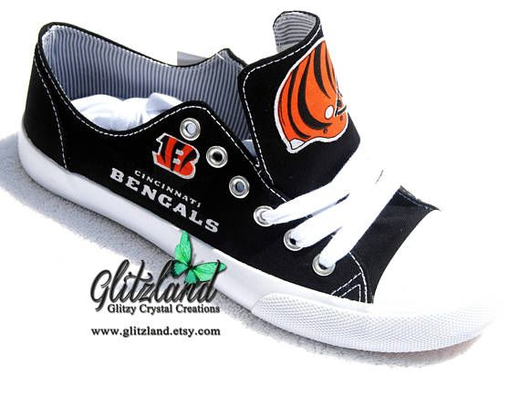 Swarovski Cincinnati Bengals Black Low Top Fashion Tennis Shoes W/  Swarovski Crystals
