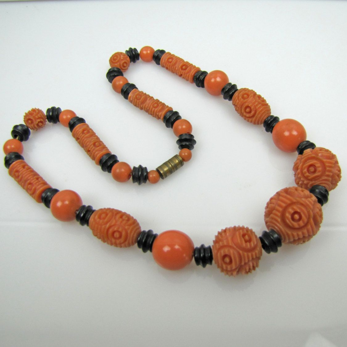 Art Deco French Bakelite Necklace. Carved Galalith Beads. Coral Red & Black. Antique Vintage 1920s Jewelry. Great Gatsby Downton Abbey by MercyMadge on Etsy