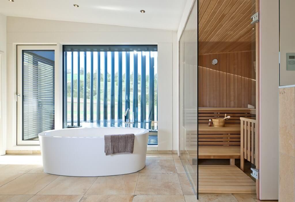 Modernes Bad - Designhaus Bullinger - Baufritz - http\/\/www - luxus badezimmer wei mit sauna