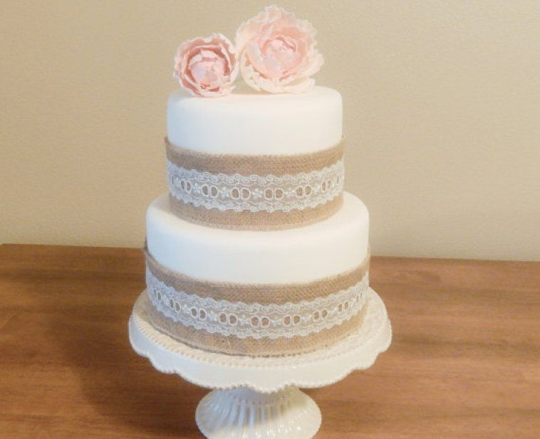 fake cake burlap and lace