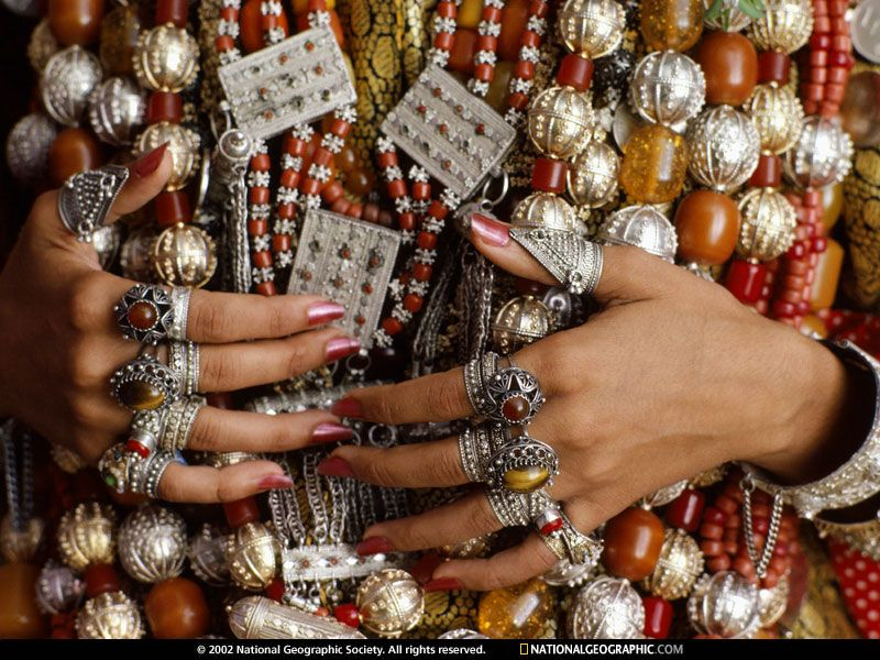 Jewish Yemeni bride wears elaborate rings and necklacesparts of a