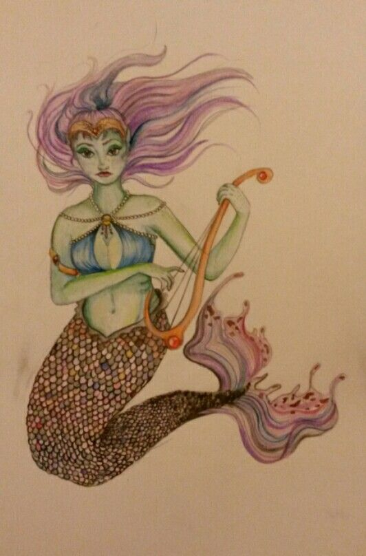 Dreaming of mermaids. Water colour and Brusho inks .x.