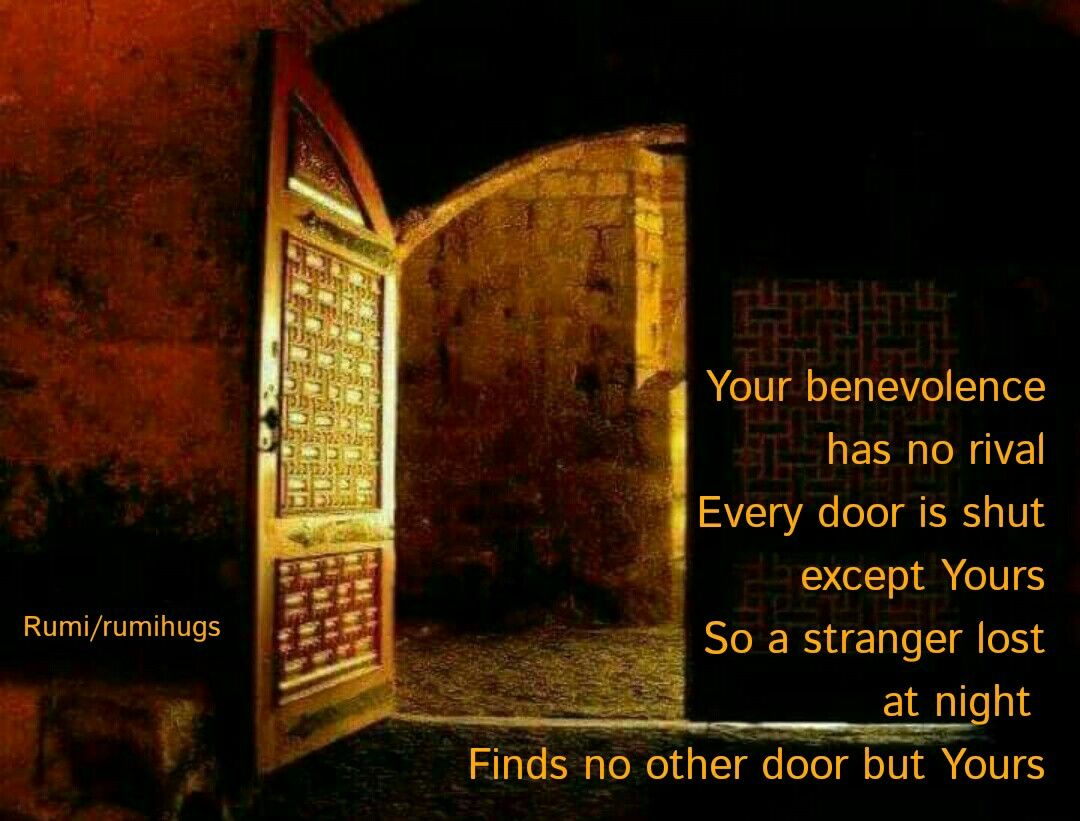 Your benevolence has no rival Every door is shut except Yours So a stranger lost at night Finds no other door but Yours. Rumi/rumihugs