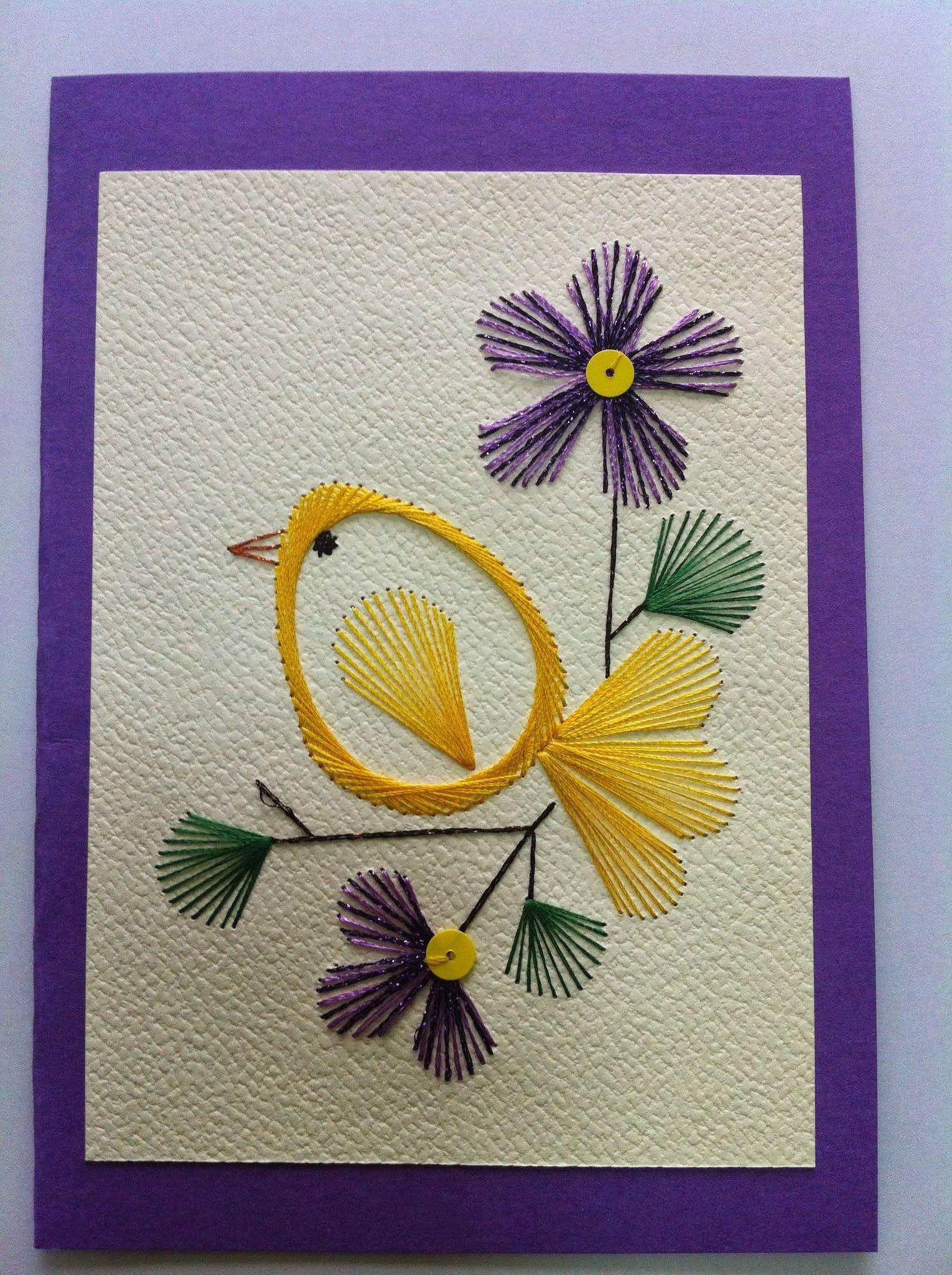 Украсить открытку нитками