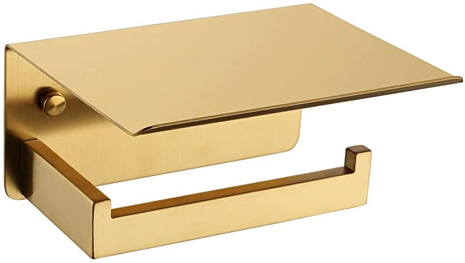 Toilet Paper Holder With Shelf Brushed Gold Aplusee Sus 304 Stainless Steel Modern Bathroom Ac In 2020 Modern Bathroom Accessories Modern Bathroom Toilet Paper Holder