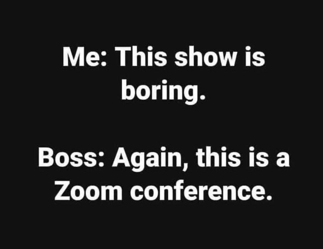 This Show Is Boring Ahem This Is A Zoom Conference Bored Quotes Funny Work Jokes Funny Quotes