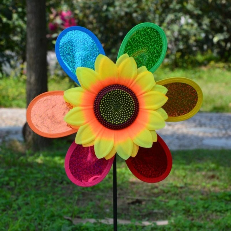 DIY Colorful Sequins Windmill Wind Spinner Home Garden Yard Decoration Kids Toys