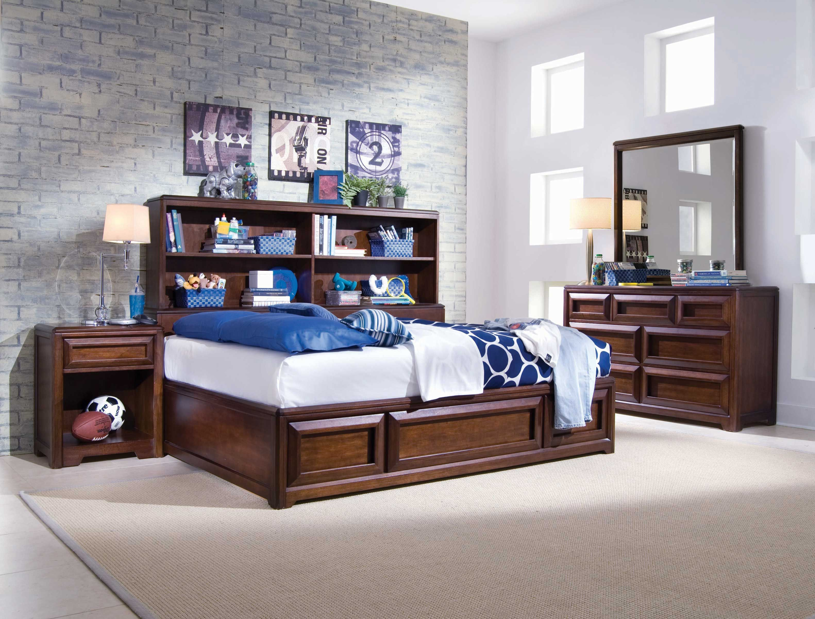 The Rootbeer Float full bookcase bed features great space-saving storage with three drawers and bookcase headboard with two adjustable shelves.