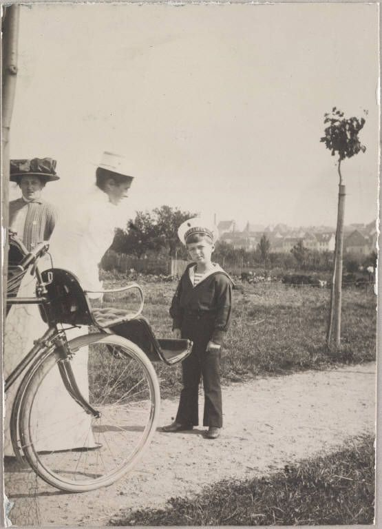 Alexei near his velvet-cushioned bicycle
