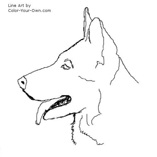 Dog German Shepard Head Line Art Dog Outline