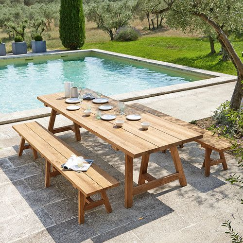 Table De Jardin En Teck Recycle 12 14 Personnes L300 Table De
