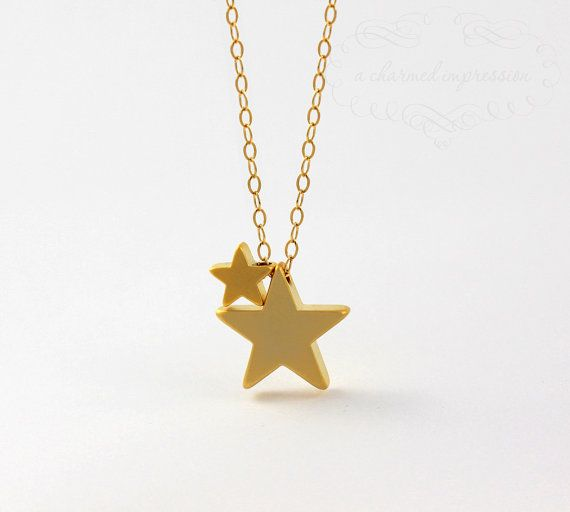 Gold Star Necklace 2 Gold Stars Two Stars by ACharmedImpression, $28.00