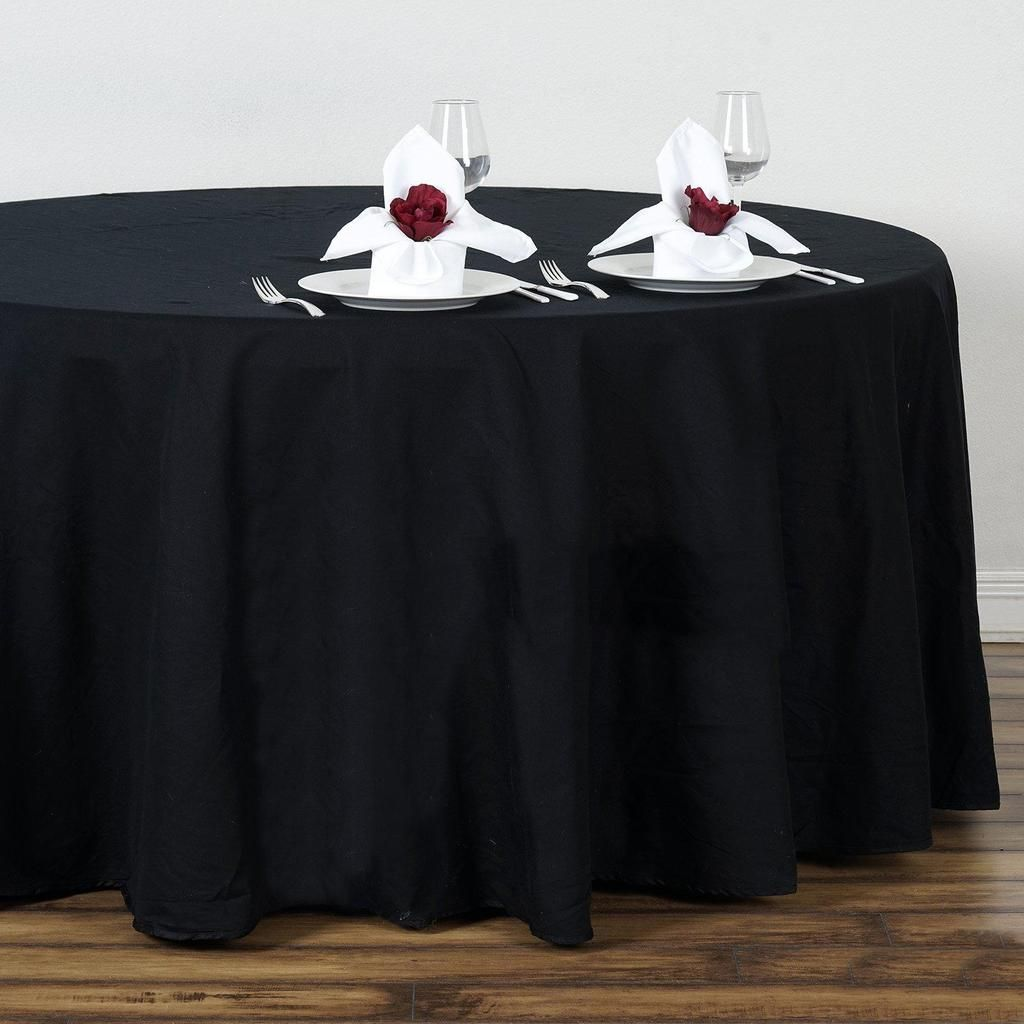 108 Black Round Chambury Casa 100 Cotton Tablecloth With Images Cotton Tablecloths Round Tablecloth Table Cloth