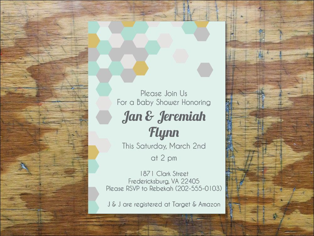 Gender Neutral Geometric Baby Shower Invite. // Downloadable ...
