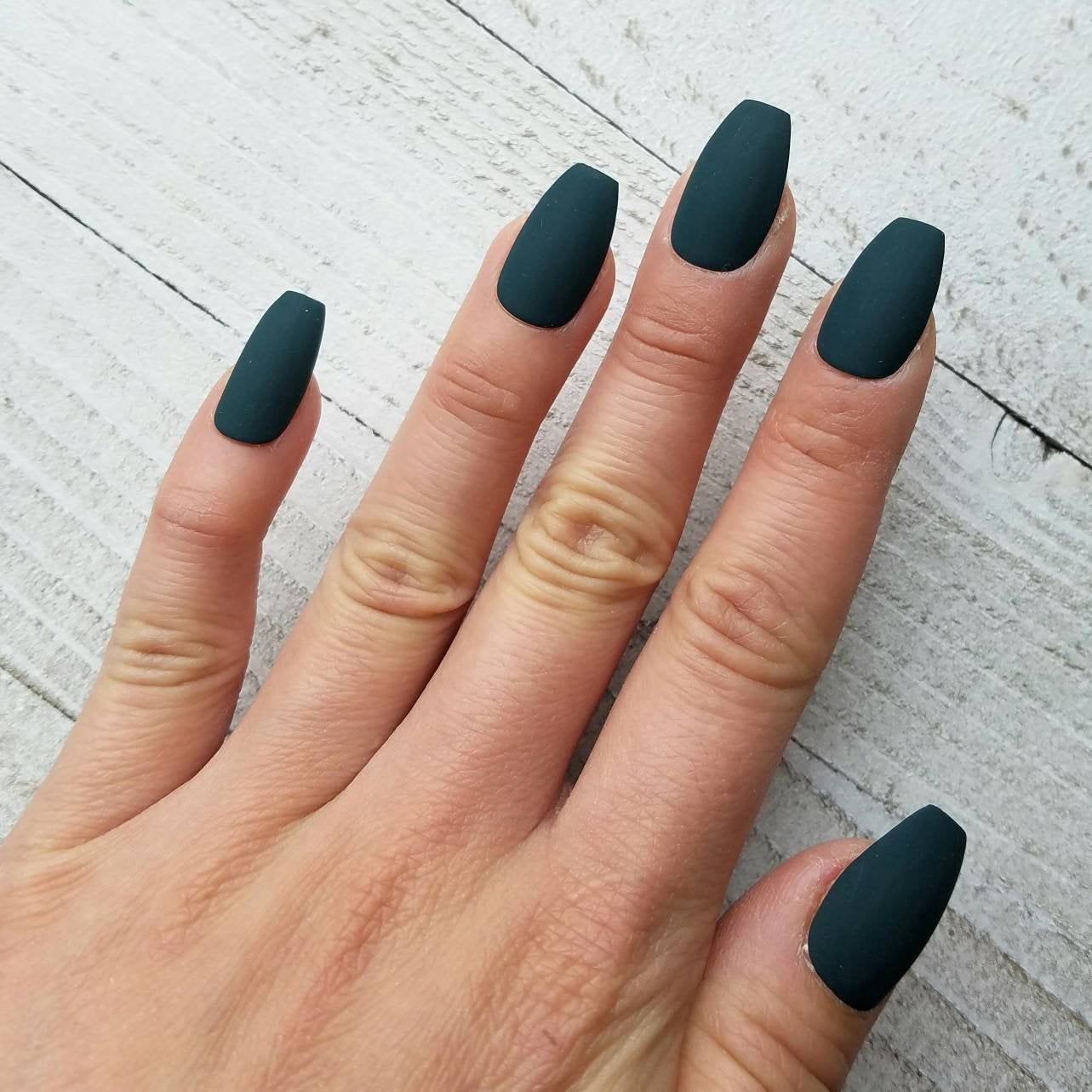 Deep Teal Green nails fake nails press on nails. Green | Etsy
