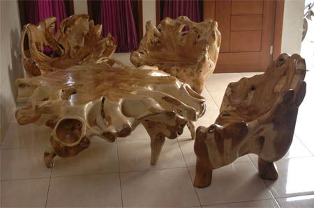 Table And Chairs Made From Teak Artistic Furniture Unusual Furniture Tree Furniture