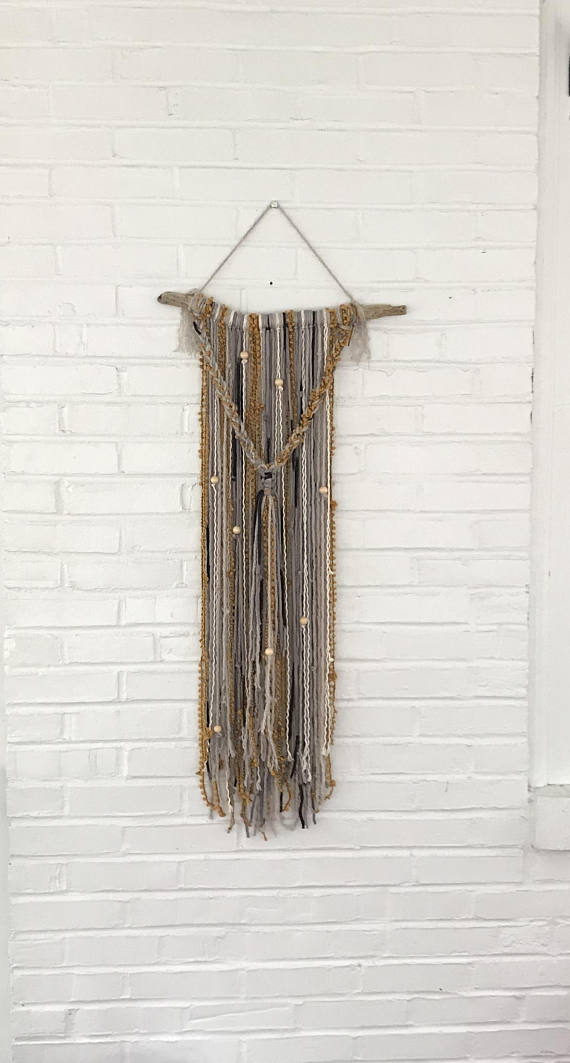 Small Modern Yarn Wall Hanging Hobo Chic Wall Decor