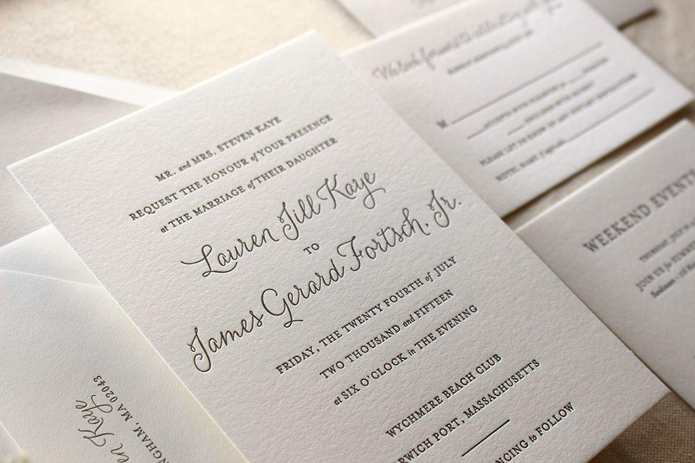 Elegant Letterpress Wedding Invitations - The Lily Suite ...