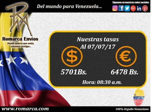 👉🏻En Romarca ofrecemos nuestras tasas de cambio las 8:30am 🕐 #Usa 🔛 #Venezuela 🔸Visita nuestro sitio web para mejor información 📲. #España #Andorra #Londres #ReinoUnido #Suiza #Suecia #Sofia #VenezolanosEnElMundo