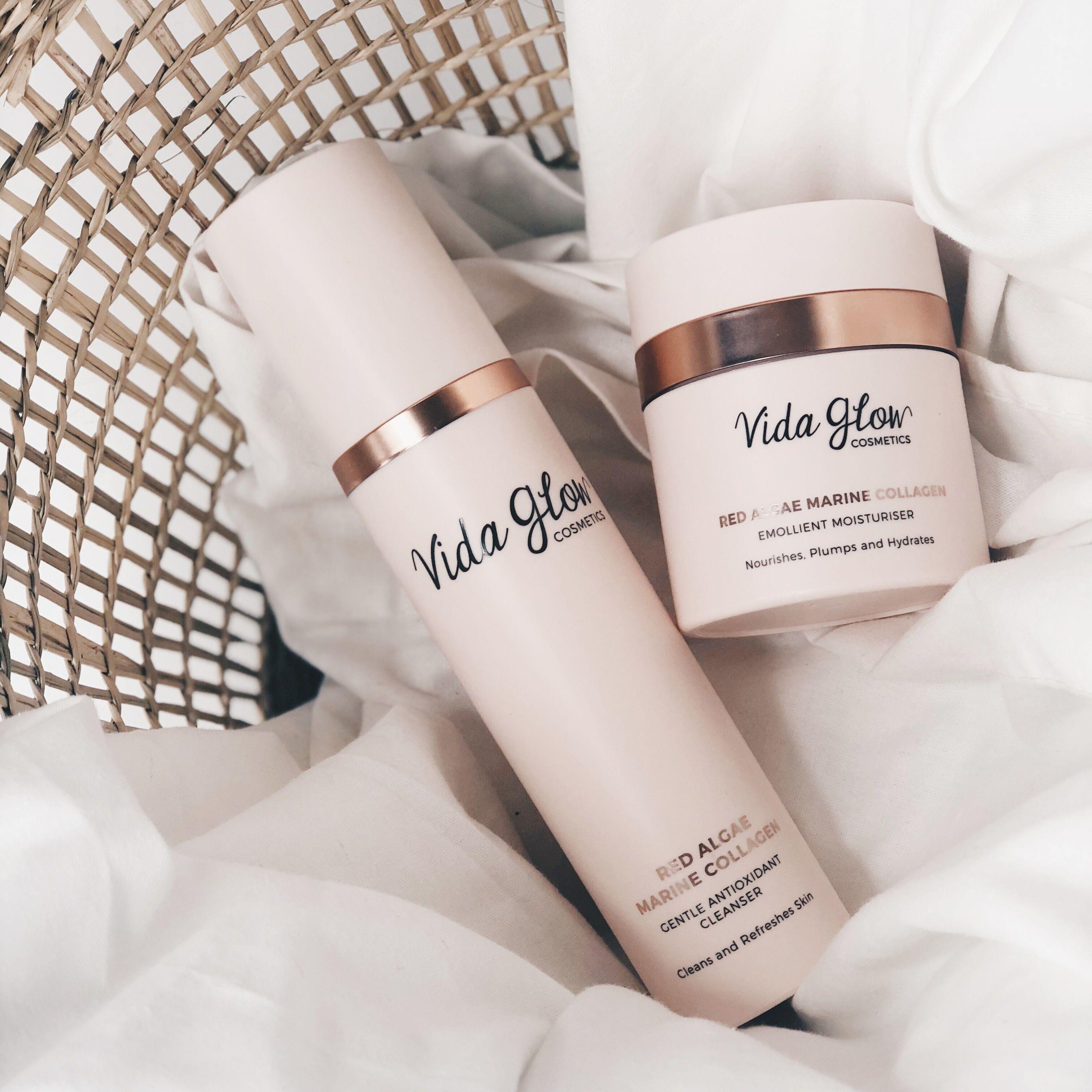 Vida Glow's Marine Collagen Skin Care range. Made with Red