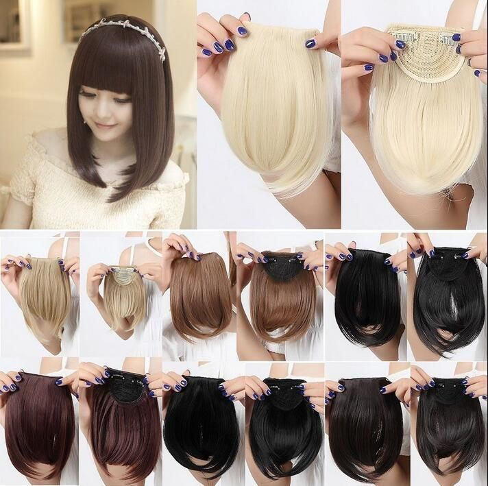 Hot Synthetic Thick Straight Bang Clip In On Fringe Hair Extensions