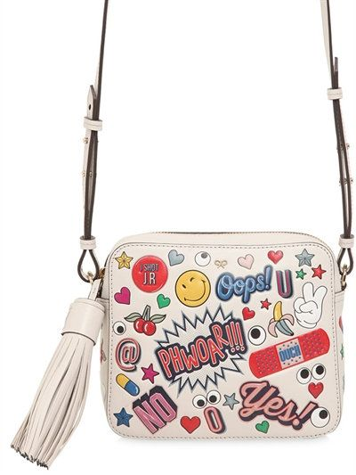 Anya Hindmarch Stickers Embossed Leather Shoulder Bag Ivory Multi Anyahindmarch Bags