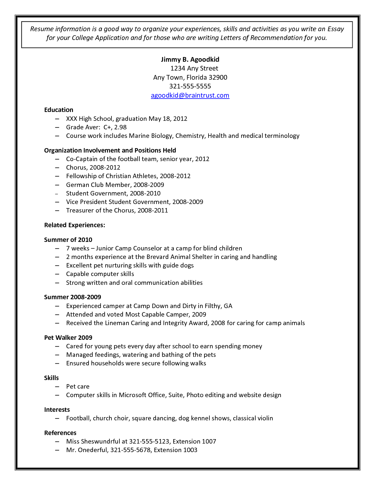 college admission resume template document sample