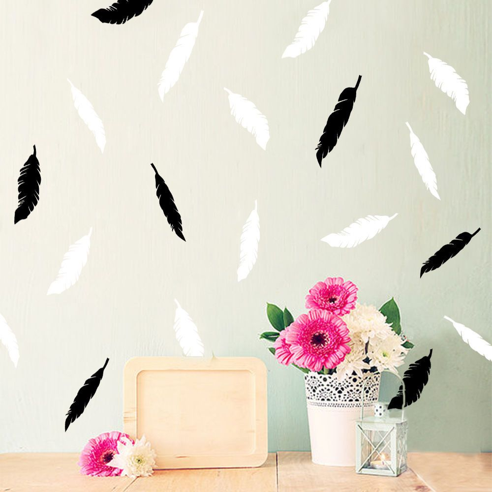 Pcs black white feather ins hot sale wall stickers removable vinyl