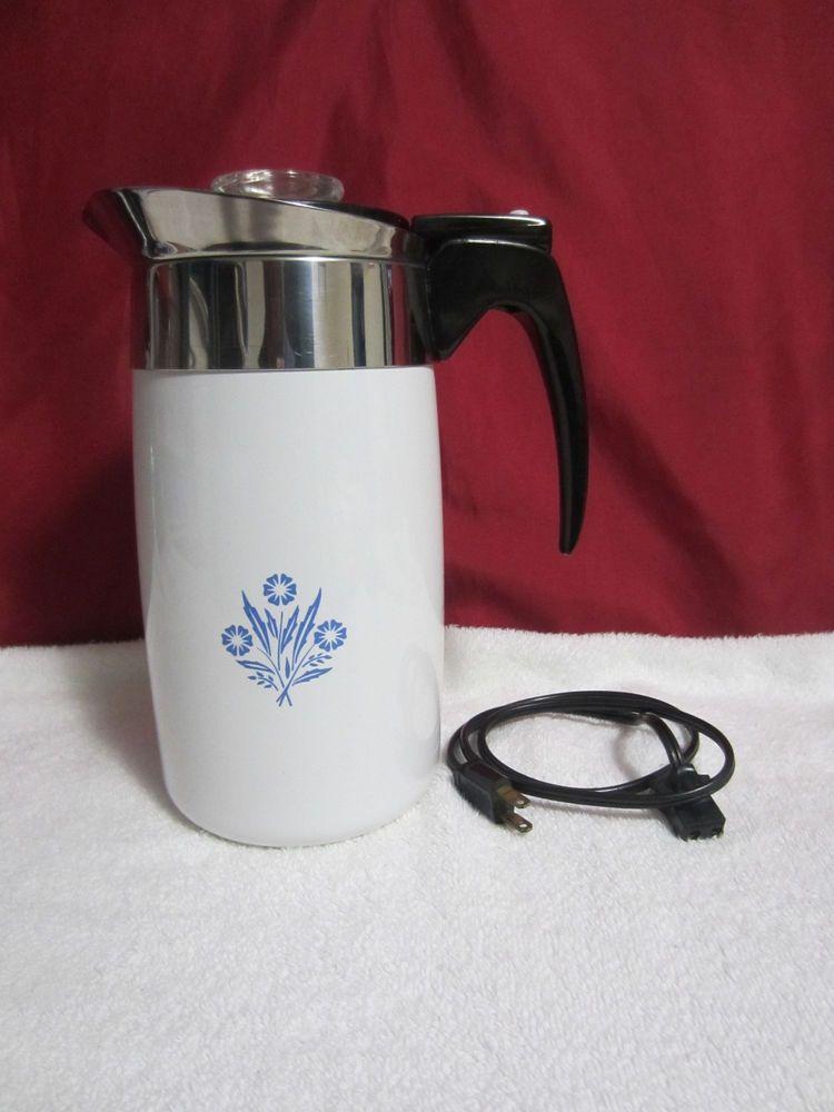 Vintage Corning Ware Coffee Pot 10 Cup Perculator P 80 Ep Looks Works Great Coffee Coffee Pot Coffee Tea