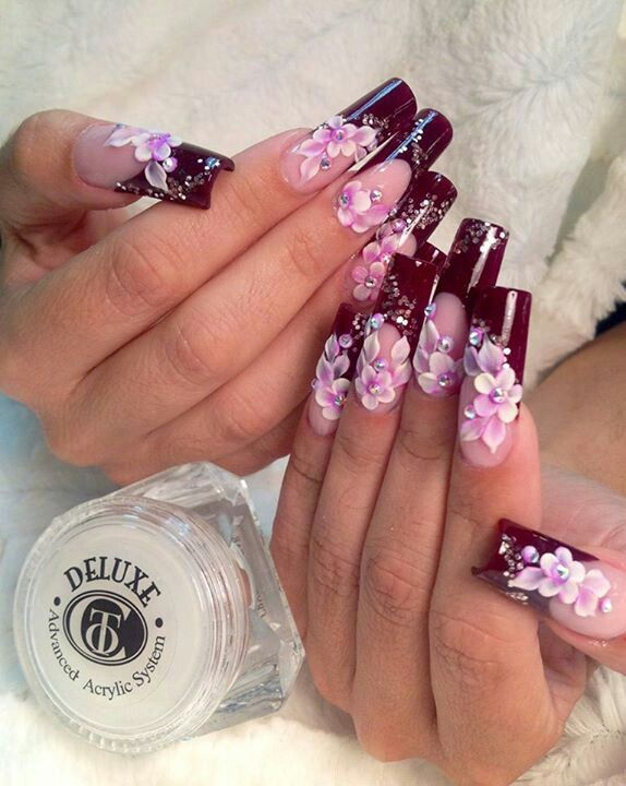 Maroon Color Tips With Pink Diamond Flowers With Images Nail