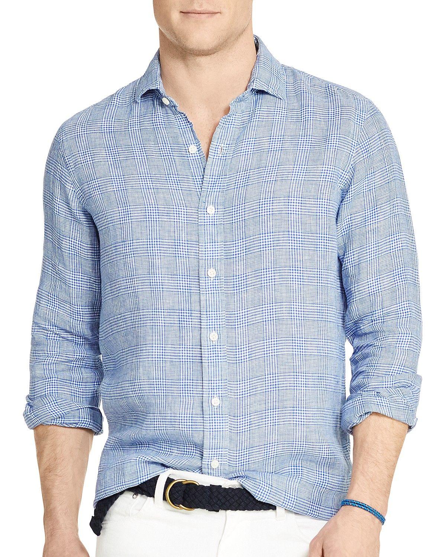 002d3152a27c Polo Ralph Lauren Glen Plaid Linen Estate Slim Fit Button Down Shirt ...
