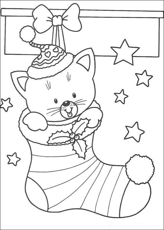 Coloriage De Noel Little Cat In A Bit Sock Coloring Page Jpg