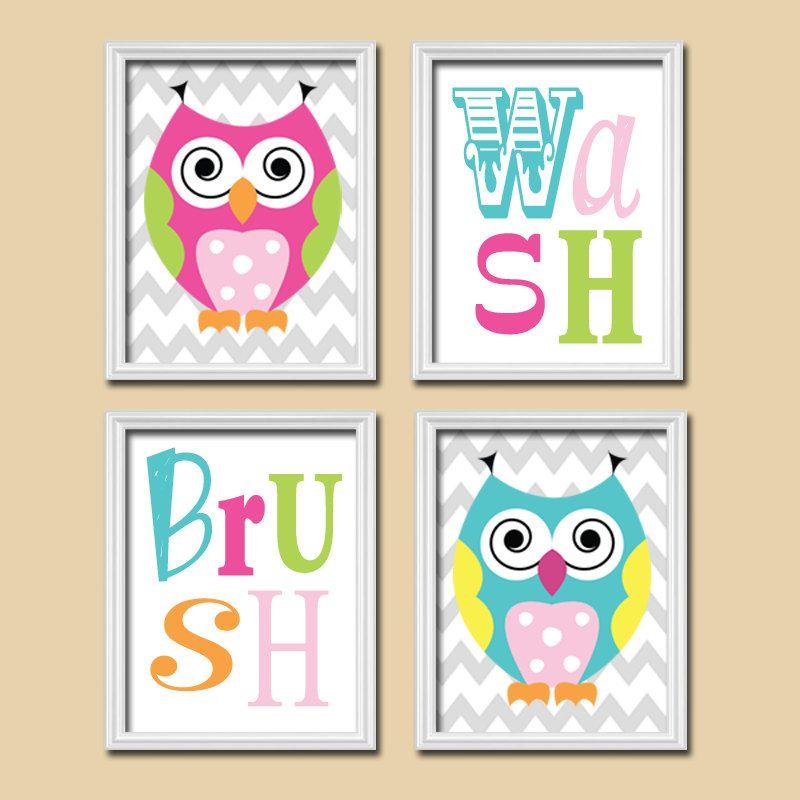 OWL BATHROOM, Canvas or Prints, Funky Whimsical Owls, GIRL Owl Theme