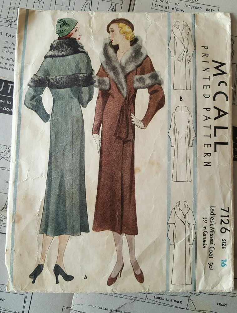 McCall 7126 Vintage Sewing Pattern 1930s 30s Dress Fur Evening Coat ...
