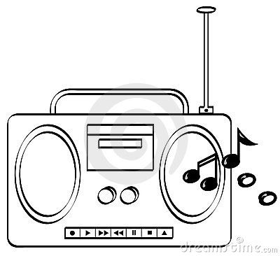 Drawing With Music Playing Radio Sketch Coloring Page Radio Office Graphics Coloring Pages