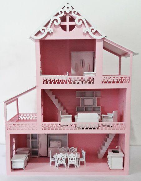 d5576210f Casa Boneca MDF Pintado Brinquedo Móveis