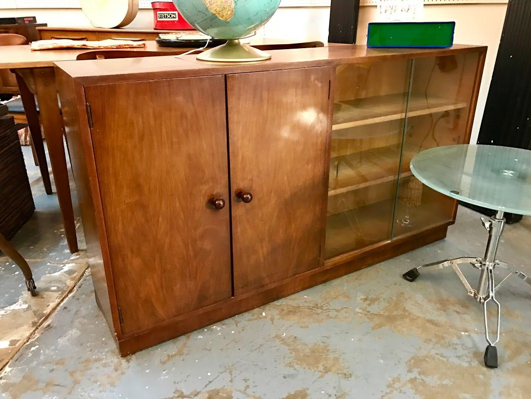 Mid Century Bookshelf With Glass Sliders And Doors 53 Wide X 30 High 340