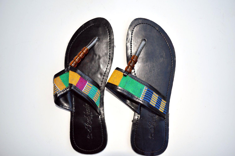 8f382cca928e8 Kente Leather Black Flats Women African Slippers Flipflops Thongs ...